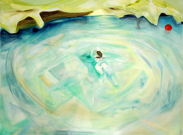 The small figure of a woman swims in a pool of green and blue with a yellow dripping bank. A red dot floats in the upper right of the pool.