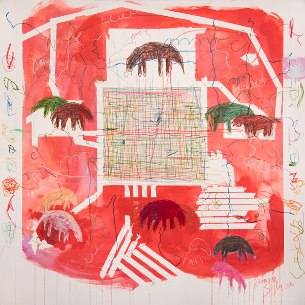 Abstract work. In the center of the work a square made of crisscrossed thin line appears. Around it are red blocks of colors and the figures of animals. The work is embellished with thin-lined scribbles.
