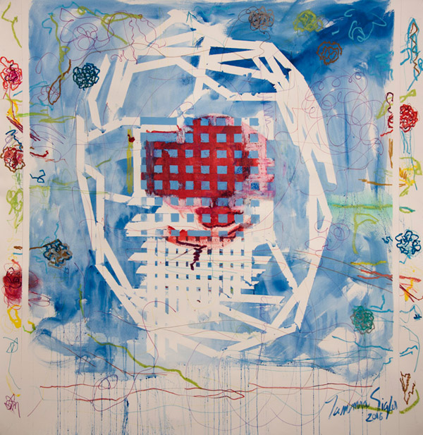 In the center of the work is a grid of crisscrossed lines, the top half red and th bottom half white. It sits on a blue background. The work is embellished with thin-lined scribbles and flowers.