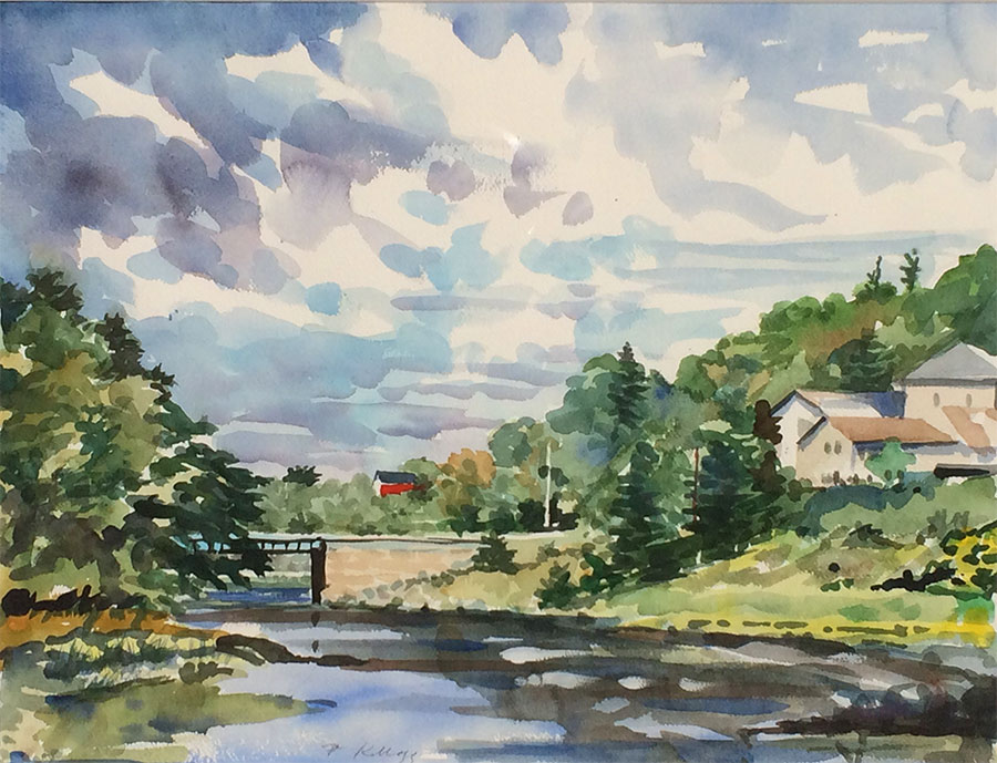 Watercolor of a bridge on a river between two green hills, under a big sky.