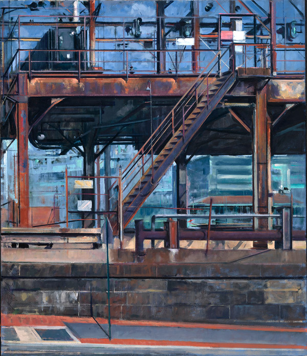 Painting of the rusted doors and staircase outside an electrical substation