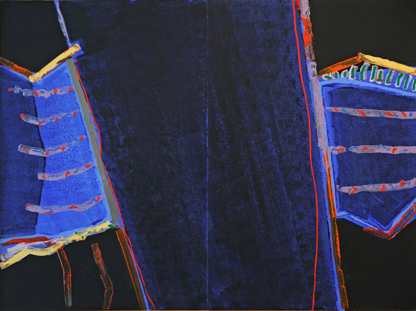 Abstract work. On a black background run slanted blue field, set off by thick green and yellow lines, thin red lines, and small red dashes.
