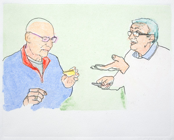 Print of two older bespectacled men in casual clothes. One is looking a piece of cheese that he is holding. The other, holding a cheese knife, is gesturing and appears to be speaking.