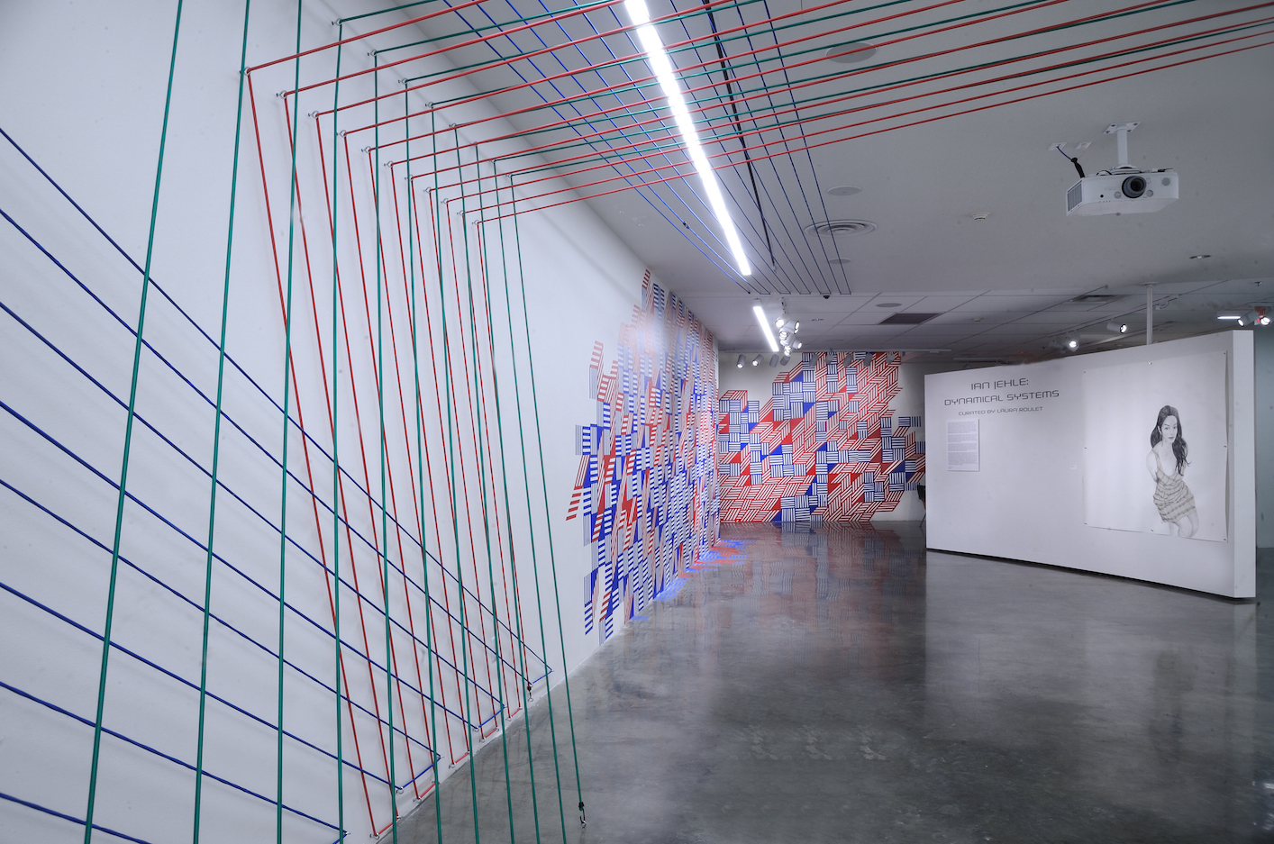 Installation view of multimedia exhibition with tape, portraiture, and bungee cords