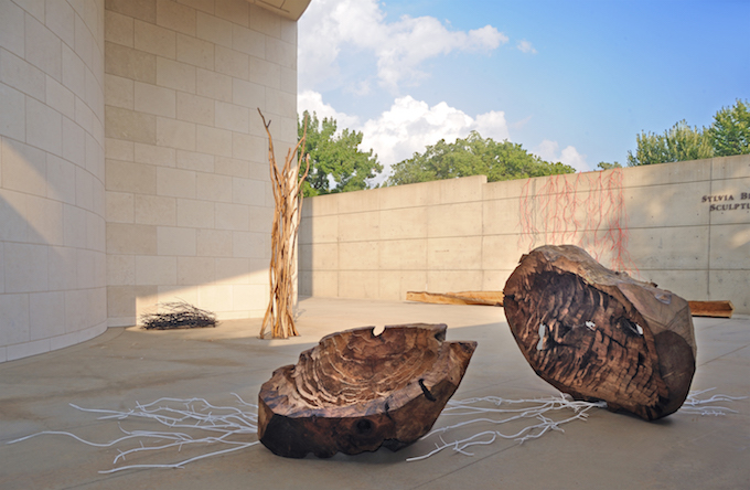 Contemporary installation with wood and metal vine-like structures in an outdoor sculpture garden