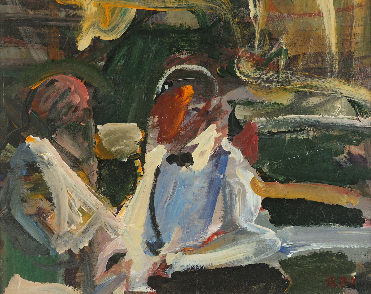Abstract, colorful work. A man and woman sit side by side, torsos turned to each other