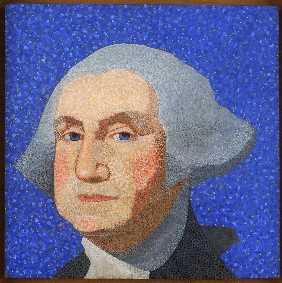 Pop art painting of George Washington on blue background