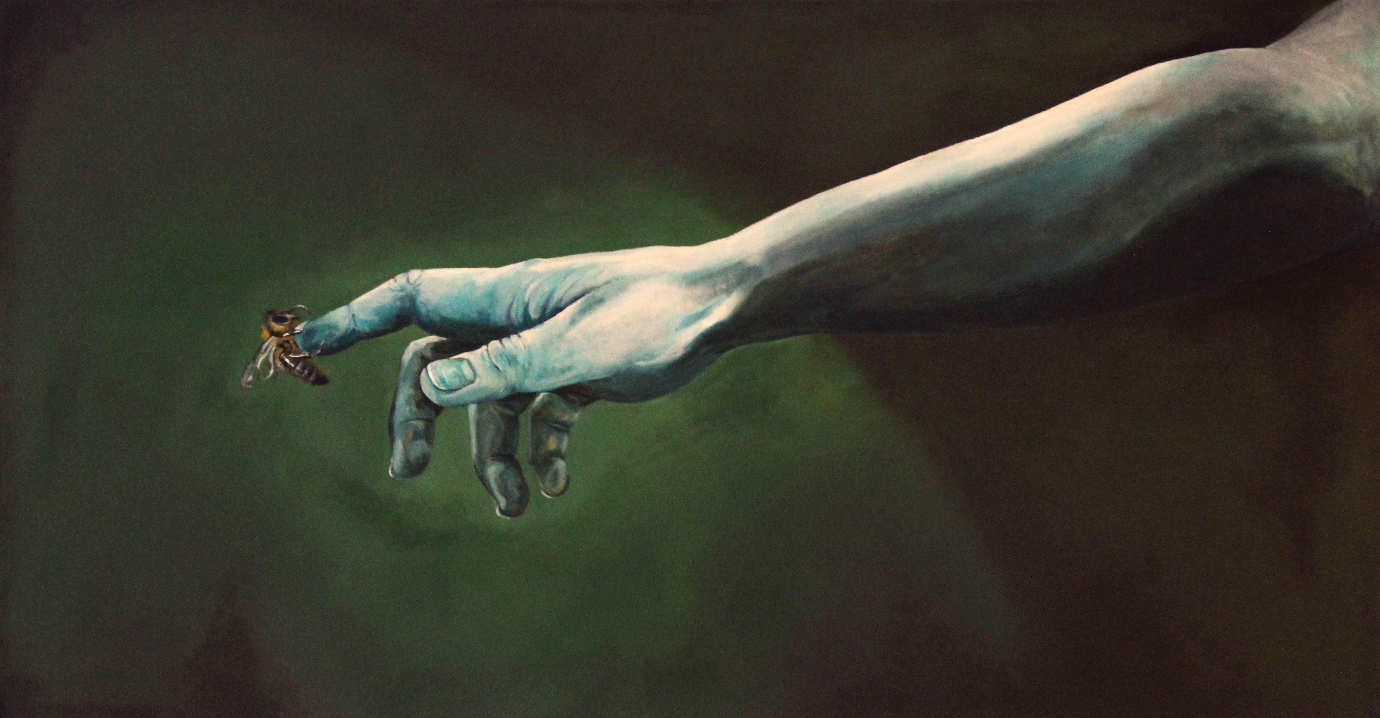 Painting of an outstretched hand with a bee on the person's finger