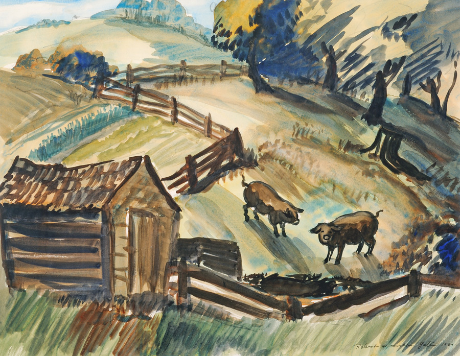 Robert F. Gates, Bessie Shoemaker's Pigs, 1934