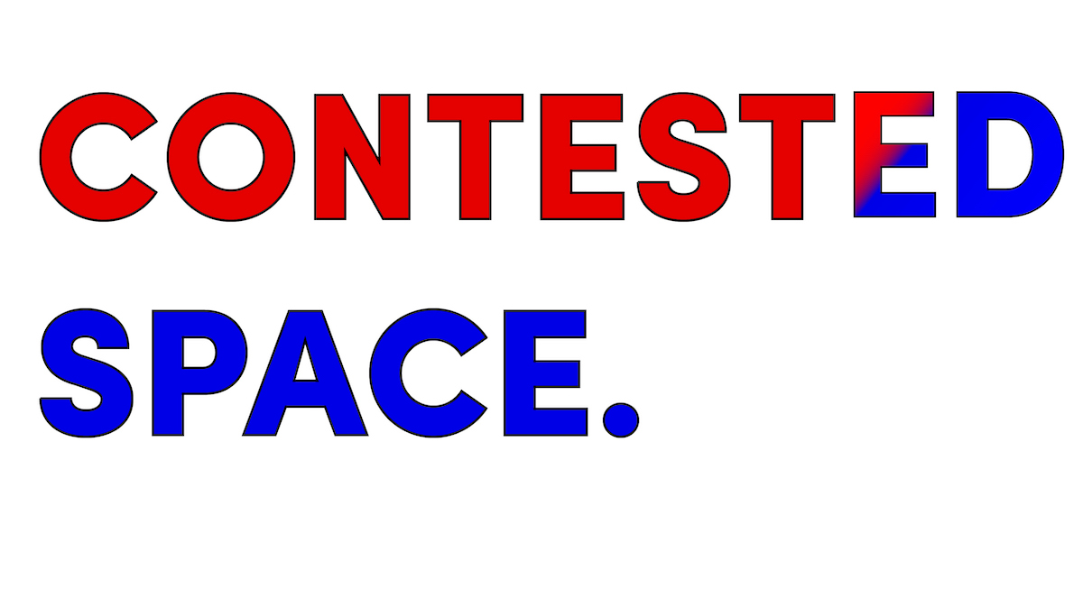 Contsted Space font in red and blue