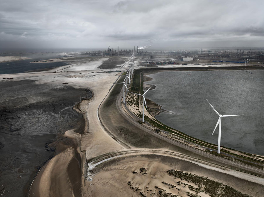 Edward Burtynsky, Flood Control Levee, Maasulakte, Rotterdam, The Netherlands, 2011