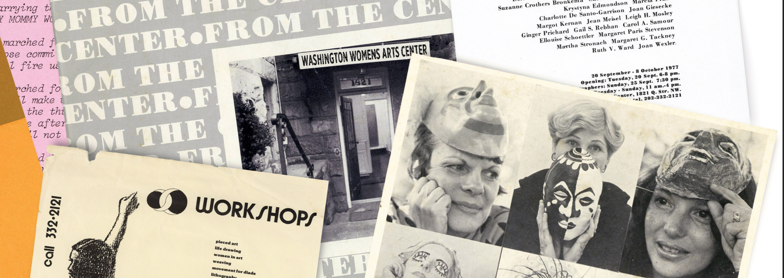 Collage of ephemera from the Washington Women's Arts Center
