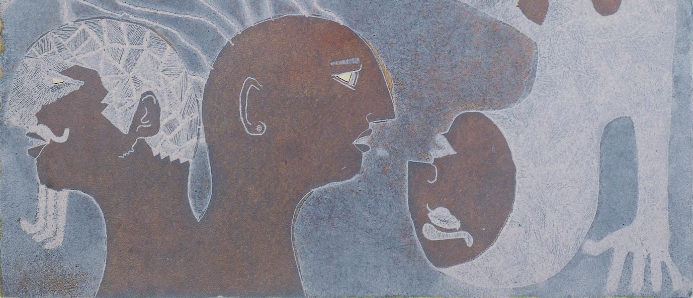 Three figures in profile