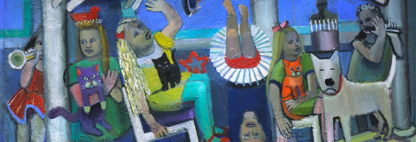 Abstract painting of figures on a porch