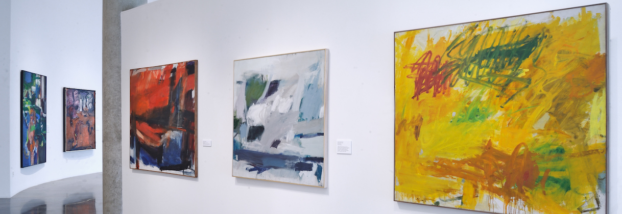 Installation view of abstract paintings