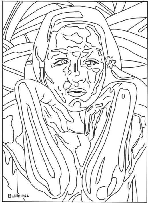 Coloring page of painting of woman