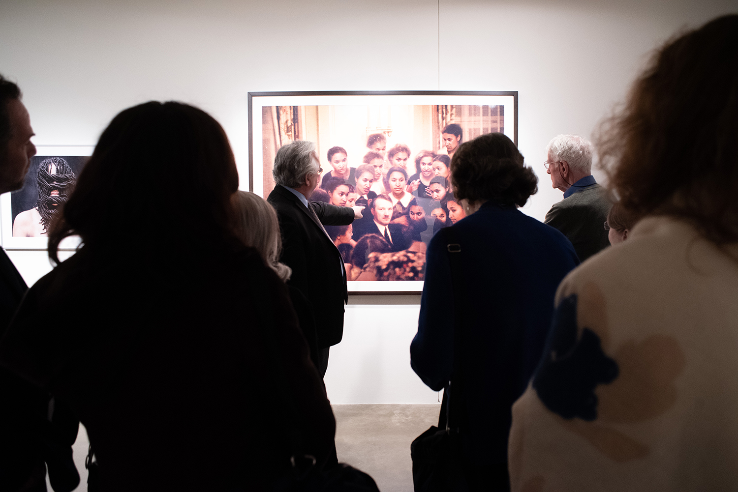 Patrons viewing art in the museum