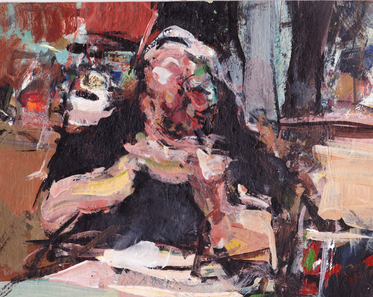 Abstract painting of a man eating