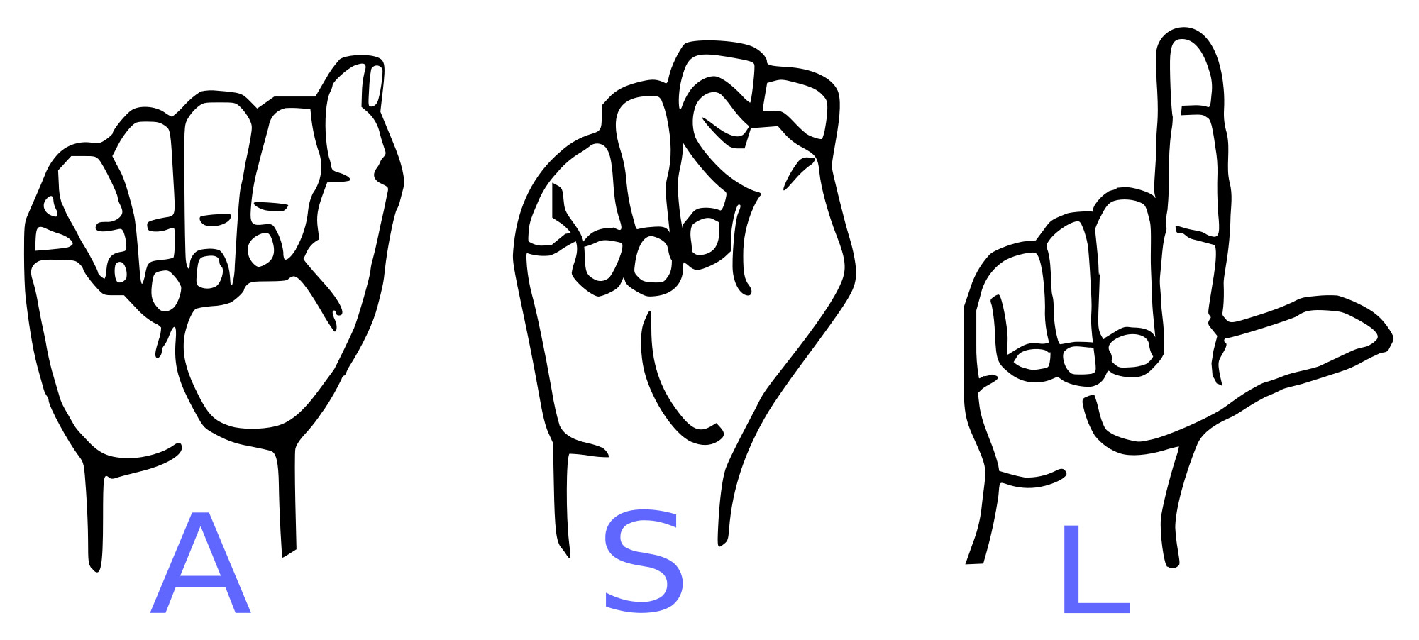Drawing of three hands spelling out ASL in sign language.