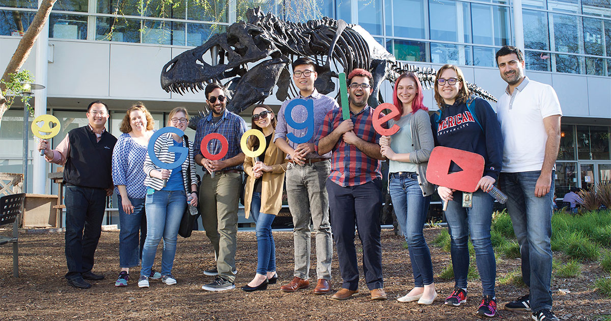 A group of AU students at Google