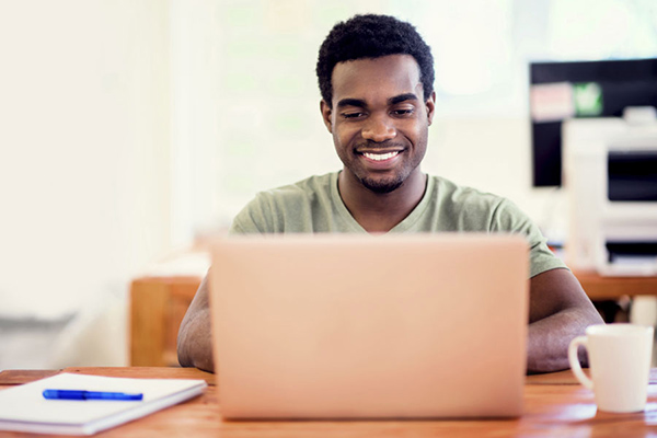 A student is excited to learn online