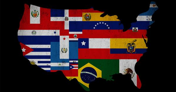 The US made from flags of citizen's nationalities