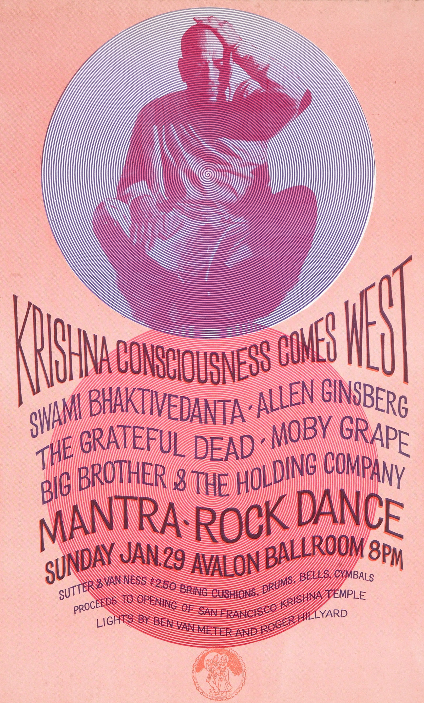 Concert poster titled Krishna Consciousness Comes West.