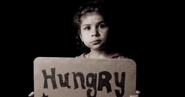 Child holding a sign that says Hungry