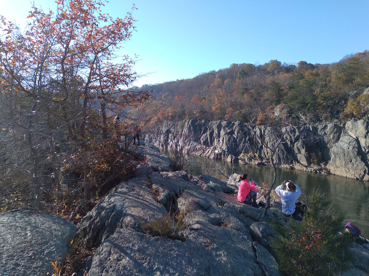 Students on the rocks at Great Falls