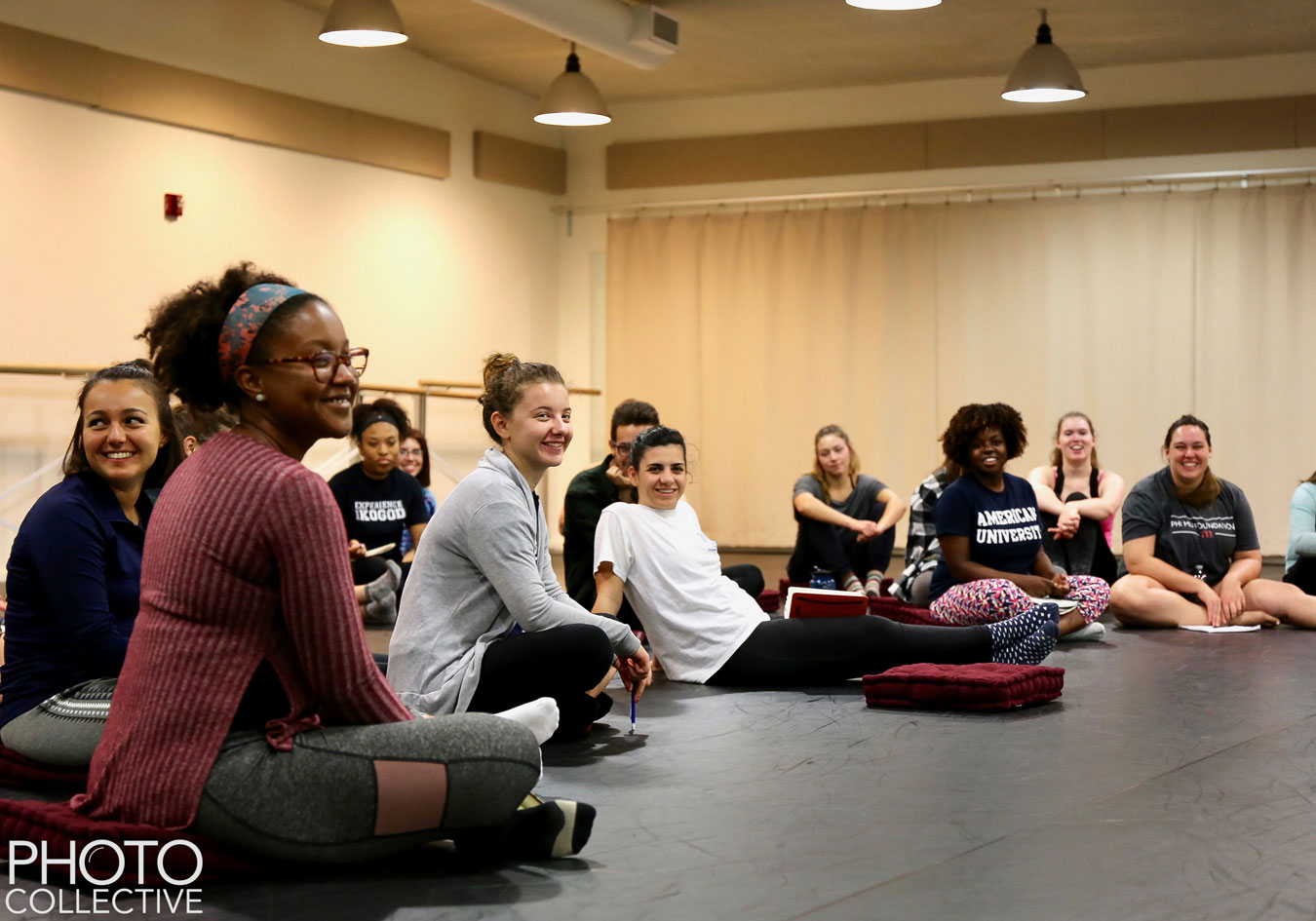 Students discuss Critcal Response Process at a master class with Dance Exchange.