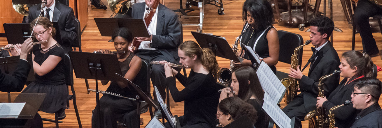 Onstage, members of a symphonic band play flute, oboe, and saxophone