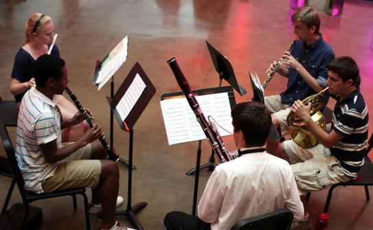 Music students rehearse in Katzen Rotunda.