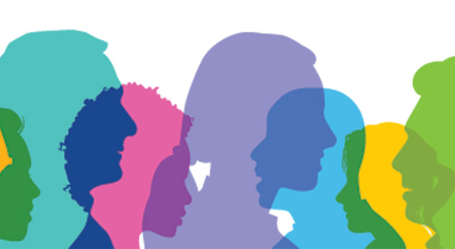 Colorful silhouettes of people's heads