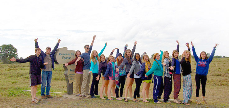 AU students on the equator in Kenya