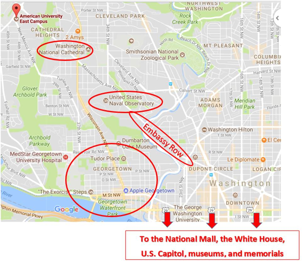 Sightseeing map of American University, Washington National Cathedral, US Naval Observatory, Embassy Row, and other sights in Northwest DC