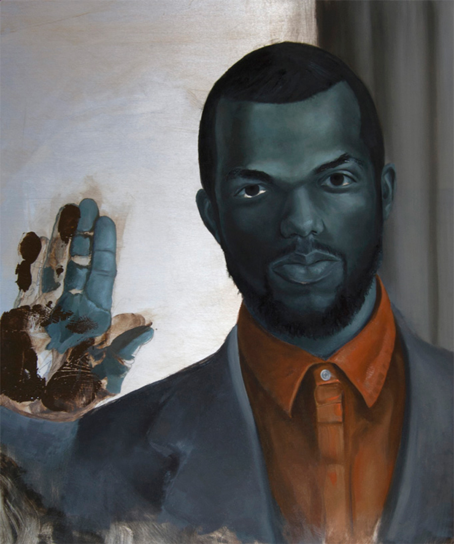 Oil painting of a person holding up their hand