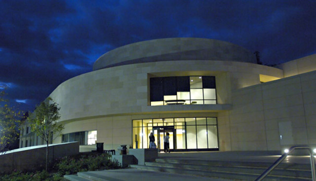 Katzen Arts Center at nighttime