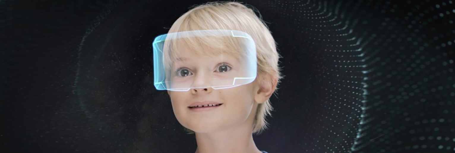A child in a VR headset, in a digitized background.