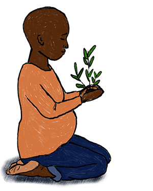 An expecting mother holds a plant in their hands