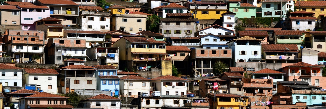 Brightly colored houses in a Brazilian favela