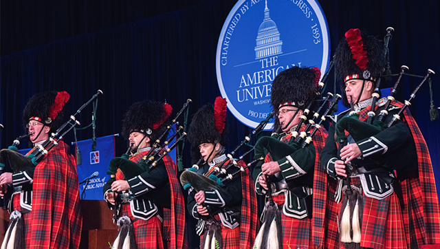 Bagpipers on stage