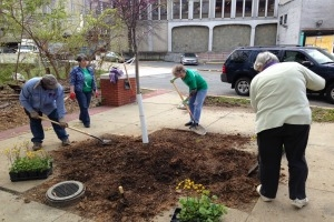 Volunteers on campus during Campus Beautification Day