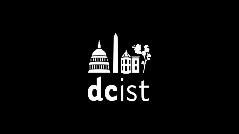 A black and white illustration showing the Capitol and other DC buildings, and the words DCist