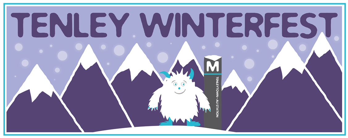"An illustration of a yeti, with mountains in the background, a metro sign for Tenleytown, and the words, ""Tenley Winterfest"""