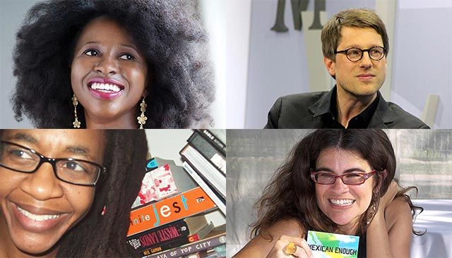 Clockwise from top left: Imbolo Mbue, Jan Wagner, Stephanie Elizondo Griest, Nnedi Okorafor