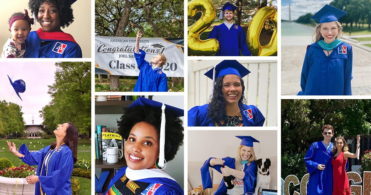 Graduate photos shared to #2020AUGrad on social media.