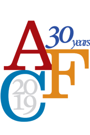 "Ann Ferren Conference, displaying the three letters A, F, and C; the text ""30 years;"" and the year ""2019"""