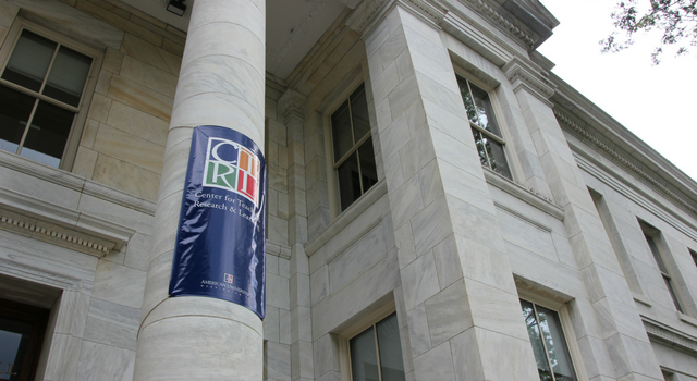 Center for Teaching, Research, & Learning banner in front of Hurst Hall