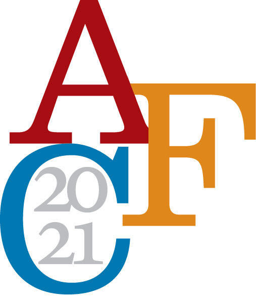 "Ann Ferren Conference, displaying the three letters A, F, and C; and the year ""2021"""