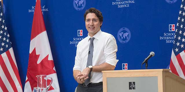 Canadian Prime Minister Justin Trudeau takes questions from American University students.